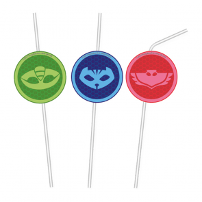 6 Medallion Flexi Drinking Straws - PJ Masks