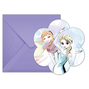 6 Die-Cut Invitations & Envelopes - Frozen Sparkle