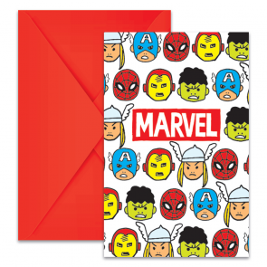 6 Die-Cut Invitations & Envelopes- Avengers Team Power