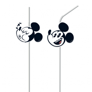 6 Medallion Flexi Drinking Straws  - Mickey Super Cool