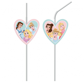 6 Medallion Flexi Drinking Straws - Princess Dare To Dream