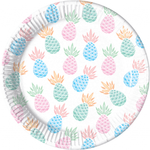 8 Paper Plates Large 23cm - Pineapples
