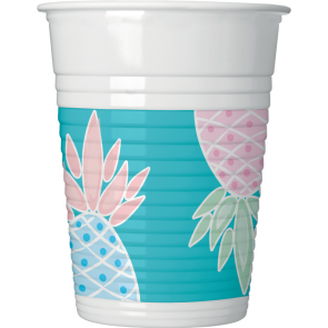 8 Plastic Cups 200ml - Pineapples