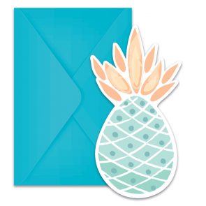 6 Die-Cut Invitations & Envelopes - Pineapples