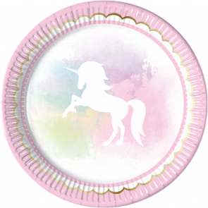 8 Paper Plates Large 23cm - Believe in Unicorns