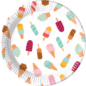 8 Paper Plates Large 23cm - Ice Cream Passion