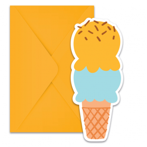 6 Die-Cut Invitations & Envelopes - Ice Cream Passion