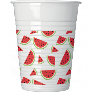 8 Plastic Cups 200ml - Watermelon