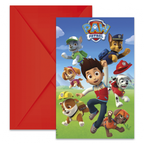 6 Die-Cut Invitations & Envelopes - Paw Patrol