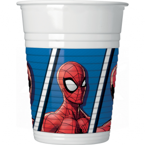 8 Plastic Cups 200ml - Spiderman Team Up