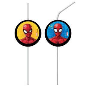 6 Medallion Flexi Drinking Straws - Spiderman Team Up