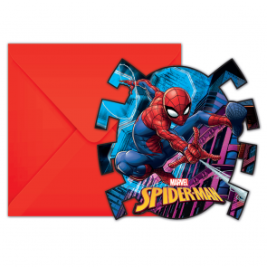6 Die-Cut Invitations & Envelopes - Spiderman Team Up