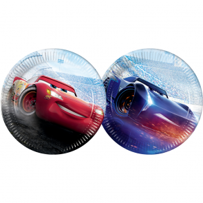 8 Paper Plates Large 23cm (2 mixed designs) - Cars The Legend of The Track