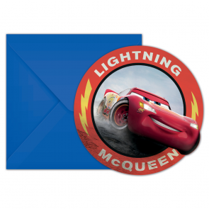 6 Die-Cut Invitations & Envelopes - Cars The Legend of The Track