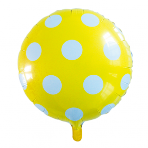 "Foilballoon round, 18""- dots yellow"