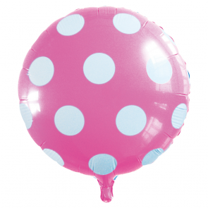 "Foilballoon round, 18""- dots light pink"