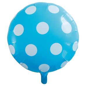 "Foilballoon round, 18""- dots light blue"