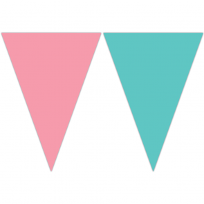 Triangle Flag Banner (9 Flags) - Green / pink