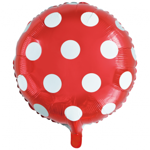 "Foilballoon round, 18""- dots red"