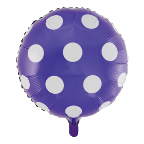 "Foilballoon round, 18""- dots purple"