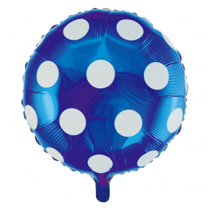 "Foilballoon round, 18""- dots blue"