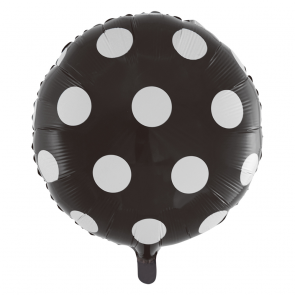"Foilballoon round, 18""- dots black"