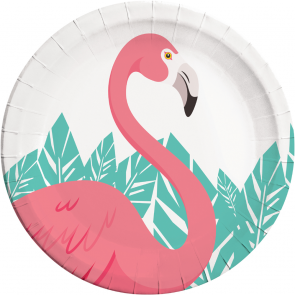 8 Paper Plates Large 23cm - Flamingo