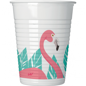 8 Plastic Cups 200ml - Flamingo
