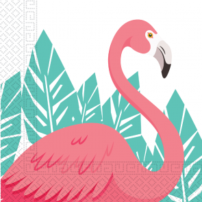 20 Two-Ply Paper Napkins 33x33cm - Flamingo