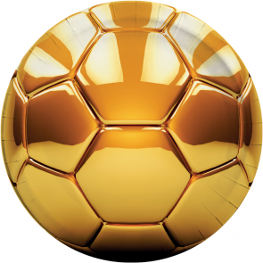 8 Paper Plates Large 23cm - Football Gold