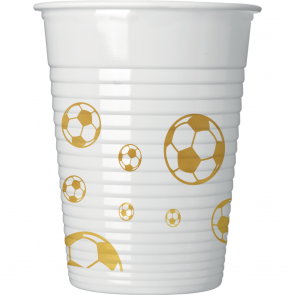 8 Paper Cups 200 ml - Football Gold