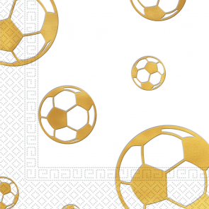20 Three-Ply Paper Napkins 33x33cm - Football Gold