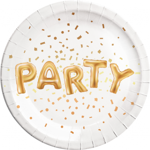 8 Paper Plates metallic Large 23cm - Gold Party