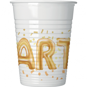 8 Plastic Cups 200ml  - Gold Party