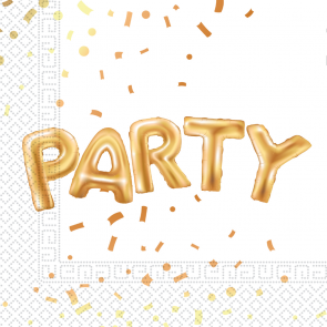 20 Two-Ply Paper Napkins 33x33cm - Gold Party