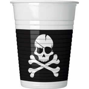 8 Plastic Cups 200ml - Black Skull