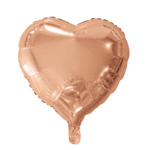 foilballoon heartshape, 18'' - rose gold, singlepacked