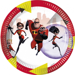 8 Paper Plates Large 23cm - The Incredibles 2