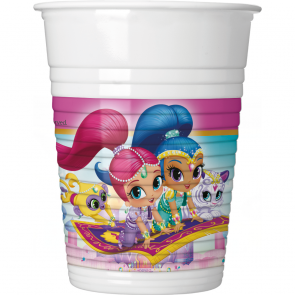8 Plastic Cups 200ml  -  Shimmer & Shine