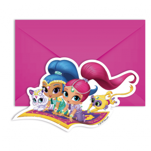 6 Die-Cut Invitations & Envelopes - Shimmer & Shine