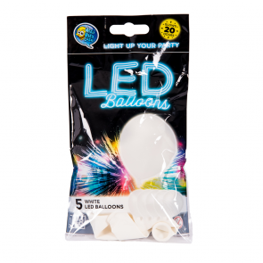"5 LED balloons 12"" - white"