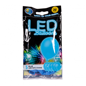 "5 LED balloons, 12"" - blue"