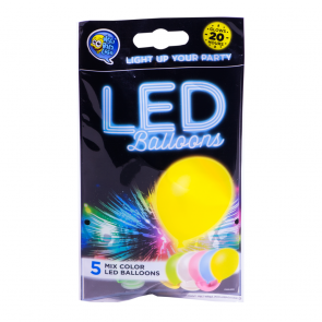 """5 LED balloons 12"""" - astd. color"""