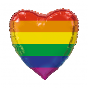 "XL Foilballoon heartshape, 36""- rainbow"