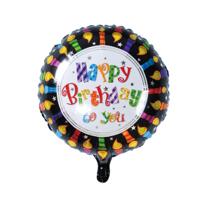 "Foilballoon round, 18""- Happy Birthday candles"