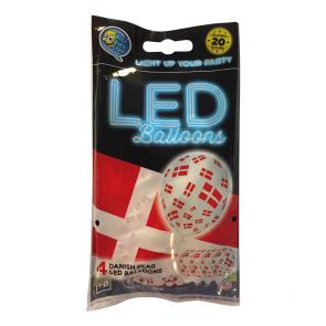 "4 LED balloons 12"" - FLAG DENMARK - white"