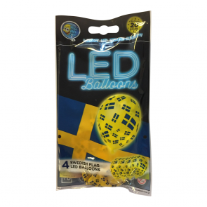 "4 LED balloons 12"" - FLAG SWEDEN - yellow"