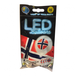 "4 LED balloons 12"" - FLAG NORWAY - white"