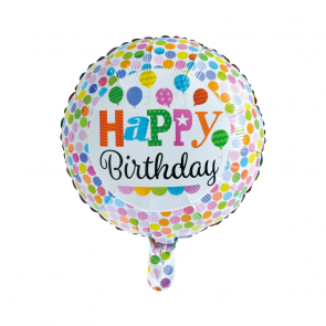 "Foilballoon round, 18""- Happy Birthday dots"