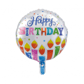 "Foilballoon round, 18""- Happy Birthday dots & candles"